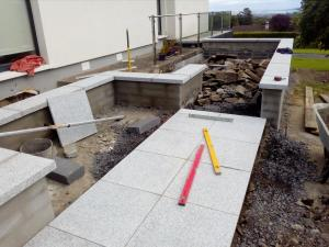 granite patio paving in progress