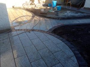 granite paving in progress patio paving