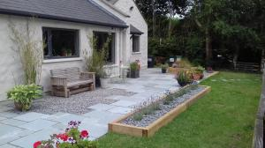 limestone patio paving and landscape