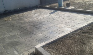 Grey paving flags
