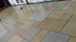 Yellow limestone paving