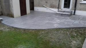 Curved granite patio