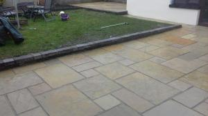 limestone patio and path