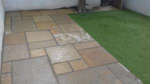 patio and artificial grass