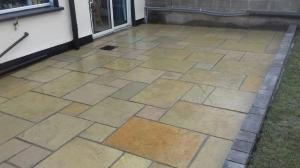 yellow limestone patio paving